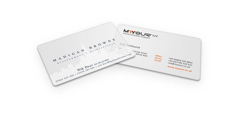 Clear plastic business cards transparent plastic cards print colours these cards can be printed reheart Choice Image